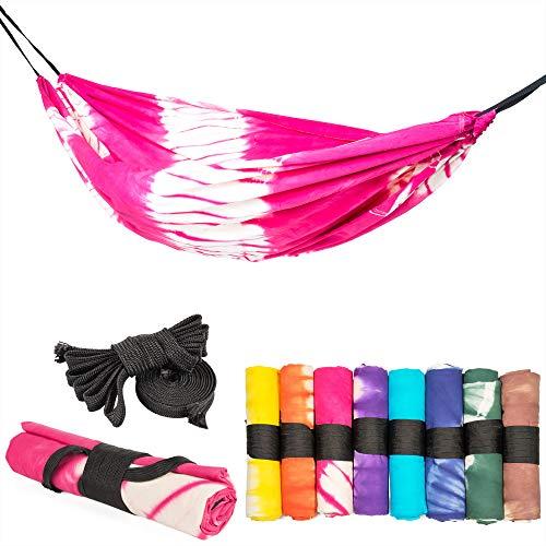 slomock Hängematte & Strandtuch für 2 Personen, 2 in 1, zu 100% aus Baumwolle in 8 Farben (In- & Outdoor 250 x 145 cm + 2 Seile 250 cm) (PINK)