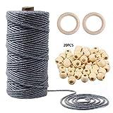 1 juego de cuerda de macramé de algodón cuerda de cuentas de madera anillo círculo combinación DIY suministros manualidades hacer asesoramiento