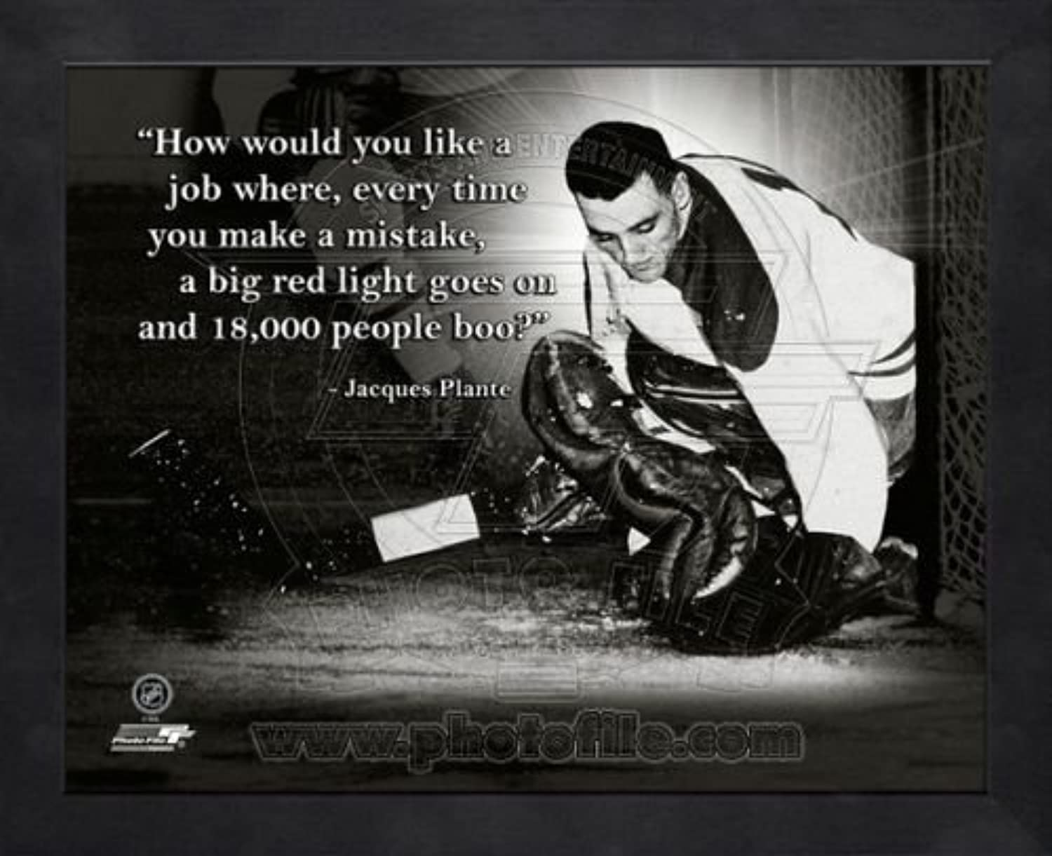 Montreal Canadiens Jacques Plante 8x10 Framed Pro Quote Photo