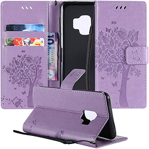 MEUPZZK Samsung Galaxy S9 Wallet Case, Embossed Cat and Tree Pattern Premium PU Leather [Folio Flip] [Kickstand] [Card Slots] [Wrist Strap] [5.8 inch] Cover for Samsung S9 (S-Lavender)