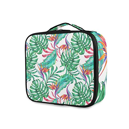 Outils de voyage Cosmetic Train Case Portable Summer Pattern Tropical Floral Seamless Leaf Storage Fashion Toiletry Pouch Makeup Bag