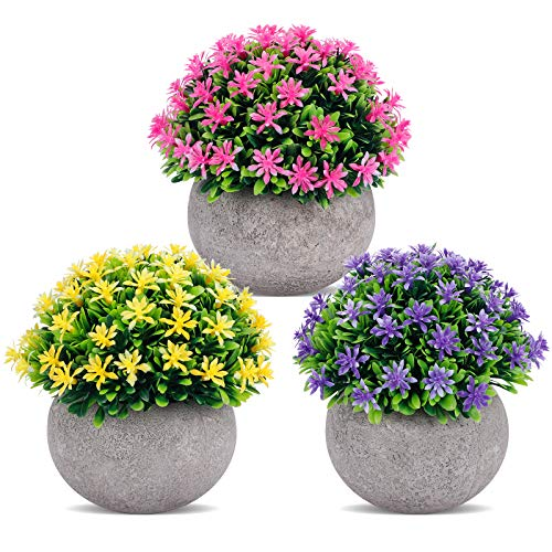 3 Packs Mini Artificial Potted Plants, Small Plants Decor, Fake Flower Plant...