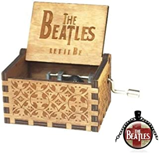 Cuzit Caja de Música, Diseño de The Beatles, Tallado Antiguo, Regalo de Navidad, Cumpleaños, Fiesta, Suministro de manivela de Madera, Juguete Musical