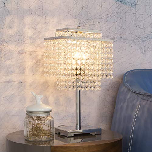 FERWVEW Modern Crystal Table Lamp, Double-Deck Bedside Desk Lamp with Crystal Shade, Decorative Elegant Nightstand Lamp for Bedroom Living Room Study Room, Chrome Finish