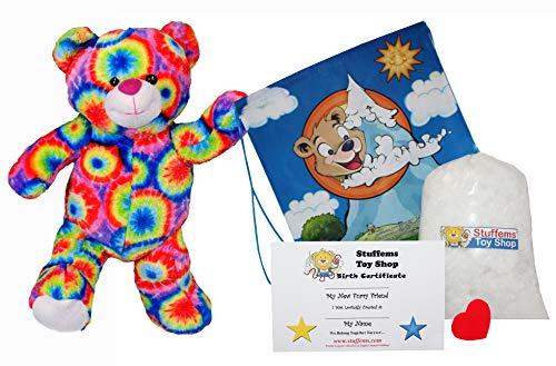 Rainbows the Bear (16 Plush) w/Heart shaped Voice recorder (No-Sew DIY Build-a-Plush Kit)