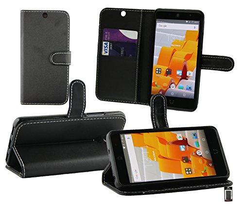Emartbuy® Wileyfox Swift 2 Plus/Wileyfox Swift 2 Wallet Etui Hülle Case Cover aus PU Leder mit Kreditkartenfächern - Schwarz (Weiß Stitching)