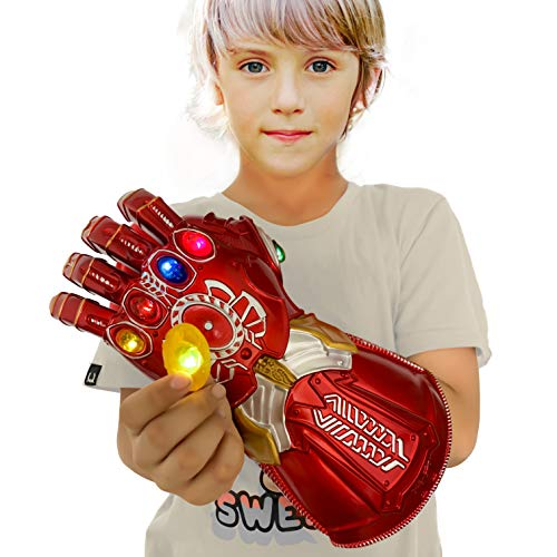XXF New Iron Man Infinity Gauntlet for Kids, PVC Glove with Removable Infinity Stones-3 Flash Mode. …