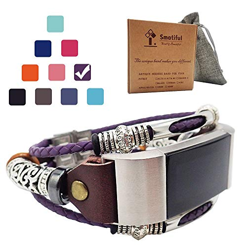 Smatiful Uhr Gliederarmband Zubehör für Damen und Herren, Verstellbar Lederarmband (Nicht Milanese) for Fitbit Charge 2, Lila