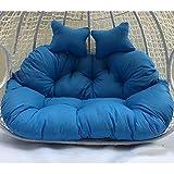 Muebles Grueso Columpio Cesta Cojín Hamaca Colgante Cojín De Asiento Cremallera De Jardín Lavable Sin Sillas, Cojín De Silla De Huevo Colgante Doble Azul
