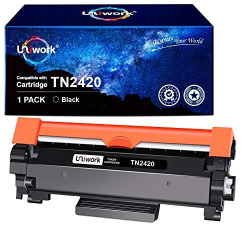 Con Chip - Uniwork TN2420 TN-2420 Cartucce di Toner Compatibile per Brother TN-2420 TN2410 per Brother MFC-L2710DW L2710DN L2730DW L2750DW, HL-L2310D L2350DW L2375DW L2370DN, DCP-L2510D L2530DW
