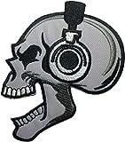 Skeleton Skull Headphone Biker Punk Ride Motorcycle Jacket DIY Applique Embroidered Sew Iron on Emblem Badge Costume Patch by Ranger Return (RR-Iron-SKUL-Head-Punk)