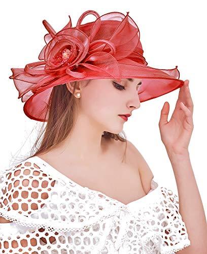 Z&X - Cappelli derby in organza, da chiesa, per donne con fiore e cappello da tè a tesa larga - rosso - Taglia unica