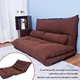 Merax Floor Sofa Bed Adjustable Sleeper Bed Folding Futon Sofa Bed Video Gaming Sofa Lounge Sofa with Two Pillows (Coffee)