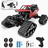 🚙【2 in 1 Climbing Off-Road Truck】- Our remote control car is equipped with 2 set of tire, suitable for all terrain like sand, mud, stones or rugged mountain roads One is wear-resistant hollow tires, which are designed by our designers strictly in acc...
