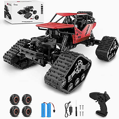 2 in 1 RC Cars Remote Control Car 1:14 Scale 25mph 40km/h High Speed 4WD Off Road RC Trucks for Adults Boys & Kids, 2.4GHz All Terrain Toy Cars with 2 Rechargeable Batteries(red)