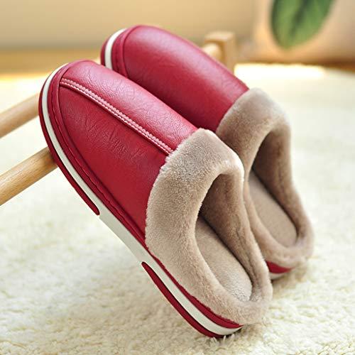 Zunruishop Zapatillas de casa los Zapatos Gruesos de Invierno Caliente Piel de Las...