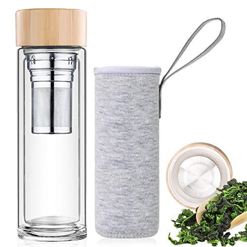 Botella de Agua de Cristal 450ML, Termo para te de Vidrio de Borosilicato, Doble Capa Botella, con infusor de Acero Tapa de Bambu y Funda de Neopreno Gris