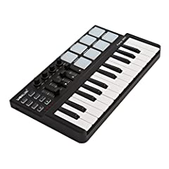 25 velocity-sensitive keys. 8 backlit trigger pads. 4 MIDI control groups. 4 banks for different settings. (4 assignable control knobs plus 4 assignable control sliders) 8 control buttons: CC Mod, Mod, Bank, Prog, Pitch down / Pitch up, Octave down /...