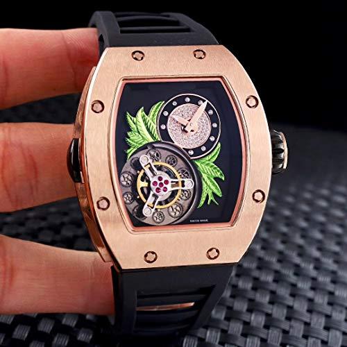 SCGDSB Orologio da Uomo Classico Automatico Scheletro Meccanico in Oro Rosa con Cinturino in Gomma Verde Acciaio Inossidabile Fiore Nero