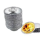 Molde de aluminio para tartas, 50 mini moldes para tartas de huevo, resistentes al calor, desechables, reciclables, para pasteles, restaurantes, hechos ideales para mini tartas,tartas de frutas