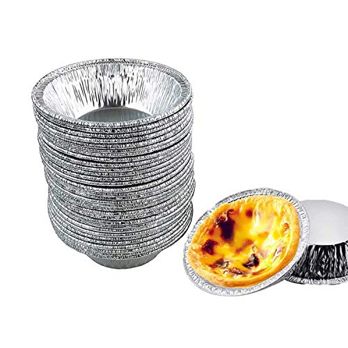 Aluminum Foil Tart Pan, 50 Mini Egg Tart Pans Heat-resistante, Disposable Recyclable Tin Foil Pie Pans for Bakeries, Cafes, Restaurants, Made Great for Mini Pies, Fruit Tarts, Individual Pies
