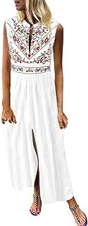 Xinantime Woman Printed Sleeveless Skirt Casual V-Neck Maxi Dress Ladies Split Hem Baggy Long Dress