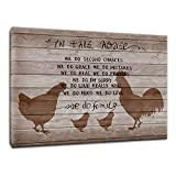 Artsbay Farm Animals Canvas Wall Art Love of Family Quote Wall Art Rooster Decor for Home Kitchen Chicken Family Silhouette Quote on Rustic Wood Print Art Painting Modern Home Decoration 16x24 Inches