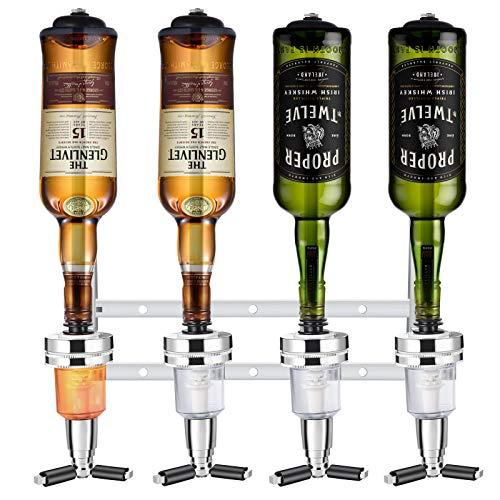 Soulpala Bar Butler Bar Flaschenhalter und Dosierer Bar Butler Wand Flaschenhalter für 4 Flaschen Bar Accessoire Getränkespender getränkeportionierer Hausbar Cocktailbar Schnapsspender