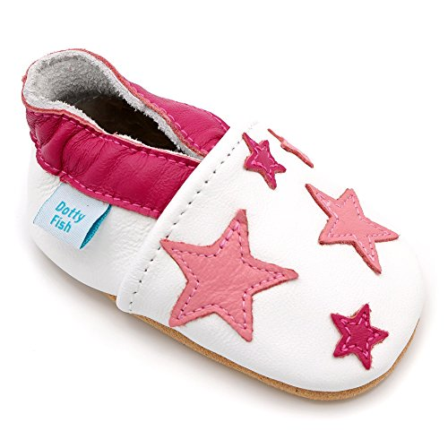 Dotty Fish weiche Leder Babyschuhe. Rutschfesten Wildledersohlen. 2-3 Jahre (25 EU). Weiß mit rosa Sternen.