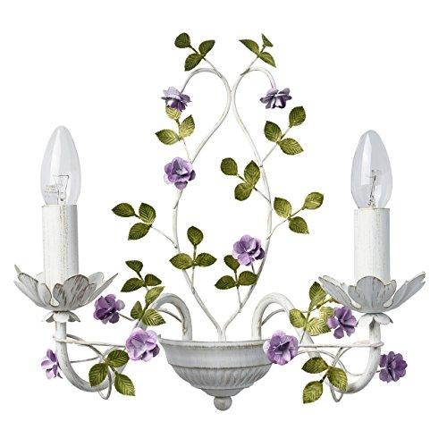 MW-Light 421024502 Applique Murale Florale à 2 Lampes Bougies en Métal Blanc Doré décoré de Fleurs Feuilles pour Chambre à Coucher 2x40W E14