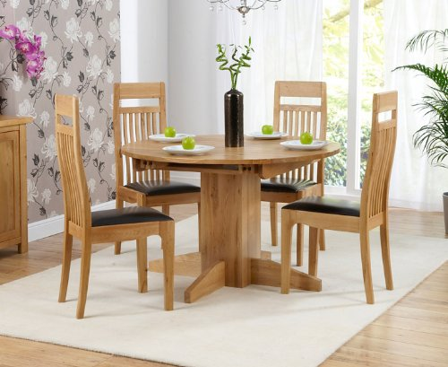 Corona Oak Dining Furniture Round Extending Dining Table 4 Monte Carlo Chairs Buy Online In China At China Desertcart Com Productid 174472092