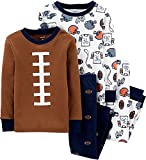 Carter's Toddler Boy's 4 Piece Pajama Cotton Set, Football, 3T