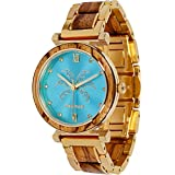 Maui Kool Steel and Wood Hybrid Watch Paia Collection for Women Analog Watch Bamboo Box (P1 - Zebrawood Turquoise Face)
