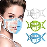 3D Mask Bracket -Silicone Face Mask Bracket-3D Mask Bracket Inner Support Frame for More Breathing Space,Keep Fabric off Mouth,Cool Lipstick Protection Stand,Reusable&Washable (white-blue-green-3Pcs)
