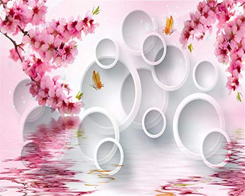 BHXIAOBAOZI behang fotobehang eigen foto 3D wallpaper abstract witte cirkels roze bloemen op het water voor de woonkamer bank Tv achtergrond slaapkamer muur decoratie (Bh0485) 440cm(W)×270cm(H)