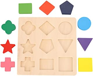 Honmofun Wooden Preschool Shape Puzzle Wooden Puzzles for Toddlers Wooden Puzzles Wooden Puzzles for 2 Year Olds Wooden Puzzles for Kids Ages 4-8 Sorting Games for Kids Geometric Puzzle Toddler
