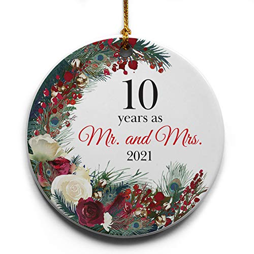 10 Years as Mr. and Mrs. Wreath Ceramic Christmas Tree Ornament...