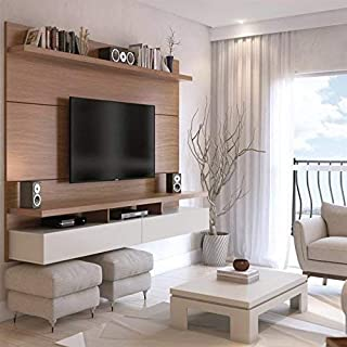 Manhattan Comforts City 2.2 Floating Wall Theater Entertainment Center, Maple Cream and Off White
