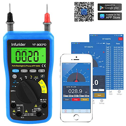 Multimetro Digitale Bluetooth, INFURIDER YF-90EPD Ohm Meter 4000 Conti Autorange Tester Multimetro per AC DC Volt, Amp, Ohm, Cap, Temp, Battery Test con Display LCD