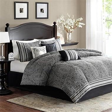 Madison Park Barton Queen Size Bed Comforter Set Bed in A Bag - Black, Jacquard Damas – 7 Pieces Bedding Sets – Ultra Soft Microfiber Bedroom Comforters