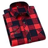 HDDFG Camisa a cuadros de algodón 45% para hombres, camisas delgadas de manga larga, cómodas, cómodas, informales, cómodas y saludables (Color : A, Size : M code)