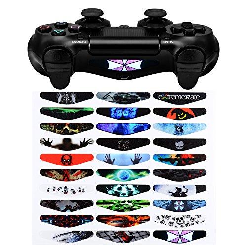 eXtremeRate Aufkleber für Lichtleiste, 30 Stück, verschiedene Stücke für PS4 Playstation 4 PS4 Slim PS4 Pro Controller – Farbdrucke Game Theme Mix Sticker?Neu