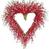 Bibelot Heart Shaped Valentine's Day Wreath Pink Forsythia Flower Wreath Mother's Day Wreath Wall Door Hanging Decor Valentine's Day Wedding Decoration…