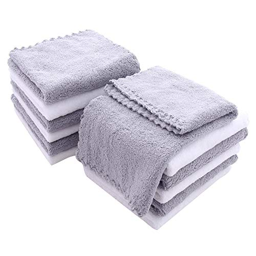 12 Pack Baby Washcloths  Extra Absorbent and Soft Wash Clothes for Newborns Infants and Toddlers  Suitable for Sensitive Skin and New Born  Baby Shower Gift  Microfiber Coral Fleece 12x12 Inches