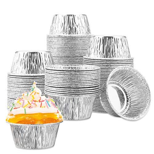 Cupcake Ramekin Aluminum Foil, Eusoar 100 Pcs 4 Ounce Foil Cupcake Cups, Disposable Muffin Liners, Ramekin Holders Cups, Aluminum Cupcake Baking Pan, Pudding Baking Cups