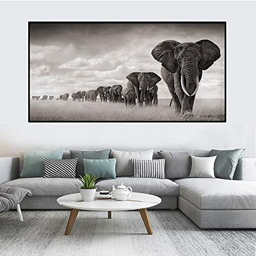 N / A Rahmenlose Malerei Afrikanischer Elefant Skandinavische Leinwand Wohnzimmer WandbildZGQ9103 20x42cm