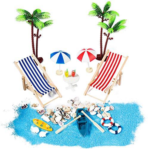 ZWOOS Strand-Mikrolandschaft, 18 Stück Geburtstagsgeschenk Miniatur Dekoration, Miniliegestuhl Deko Strand Palme, Sonnenschirmen, Miniliegestuhl, Booten usw
