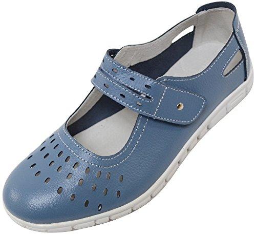 Zapatos/Sandalias de Absolute Footwear, informales, para verano o vacaciones, de horma ancha (EEE), para señoras, de cuero, color Azul, talla 40 EU