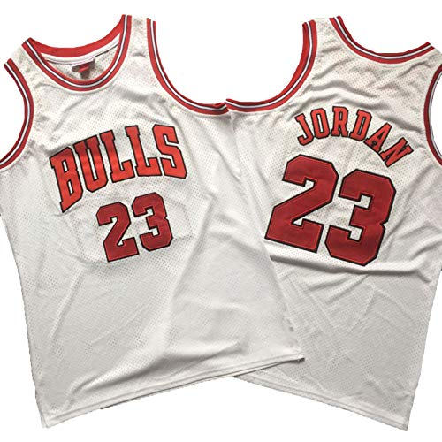 Camiseta De Baloncesto Michael Jordan, Uniforme De Baloncesto De Los Chicago Bulls # 23, Camiseta De Chaleco Deportivo Retro De Malla Bordada Densa para Hombre White-M