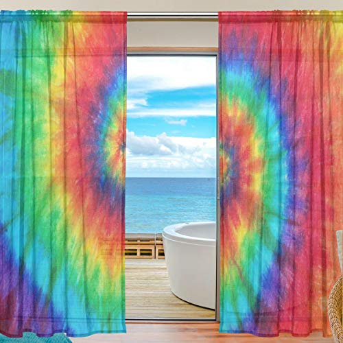MAHU Sheer Curtains Abstract Tie Dye Swirl Print Window Voile Curtain Drapes for Living Room Bedroom Kitchen Home Decor 55x84 inches, 2 Panels
